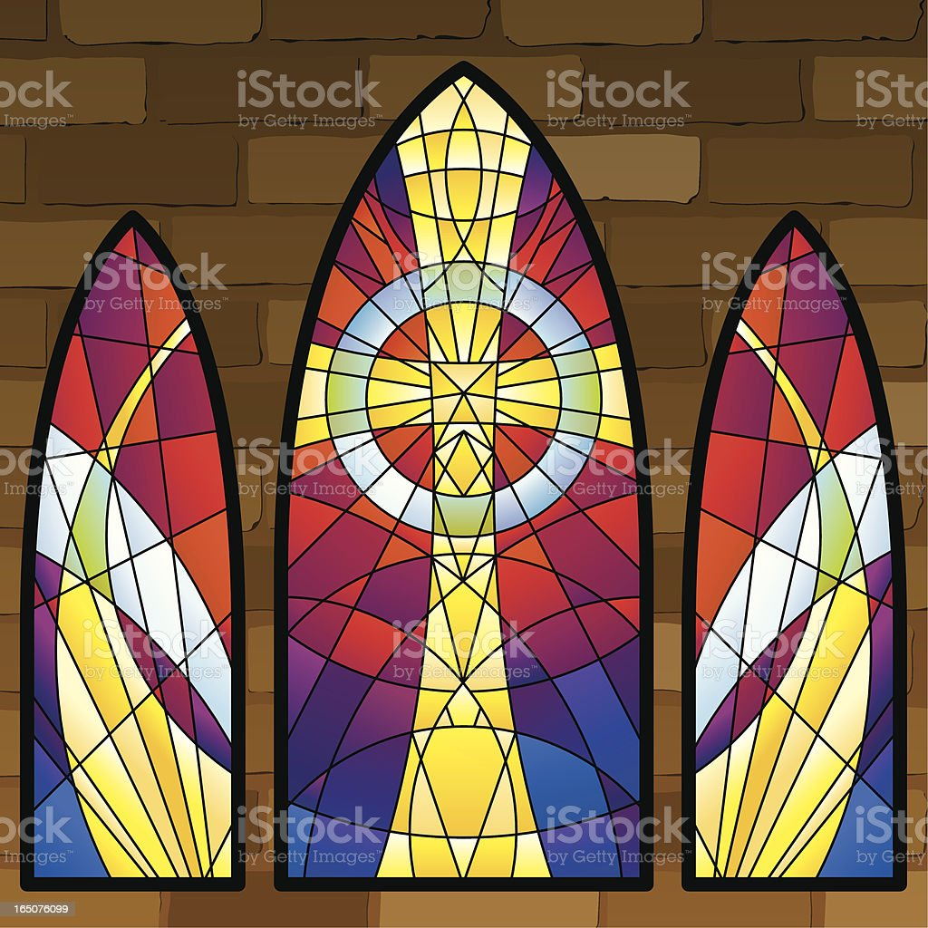Stained glass windows vector art illustration