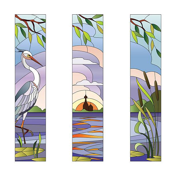 stained glass with heron - mosaikglas stock-grafiken, -clipart, -cartoons und -symbole