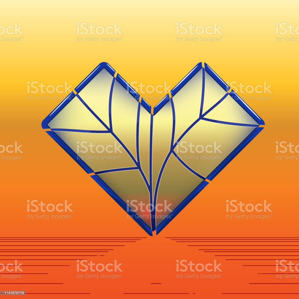 Stainedglass Heart With Blue Skirting Stock Illustration Download Image Now Istock