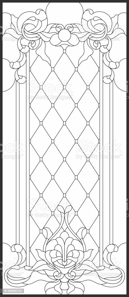 Stainedglass Panel In A Rectangular Frame Art Nouveau Style Stock ...