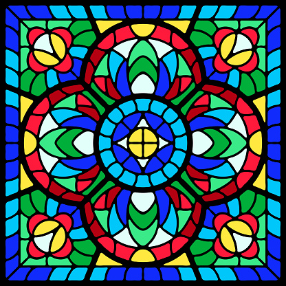 Stained-glass window with colored piece.