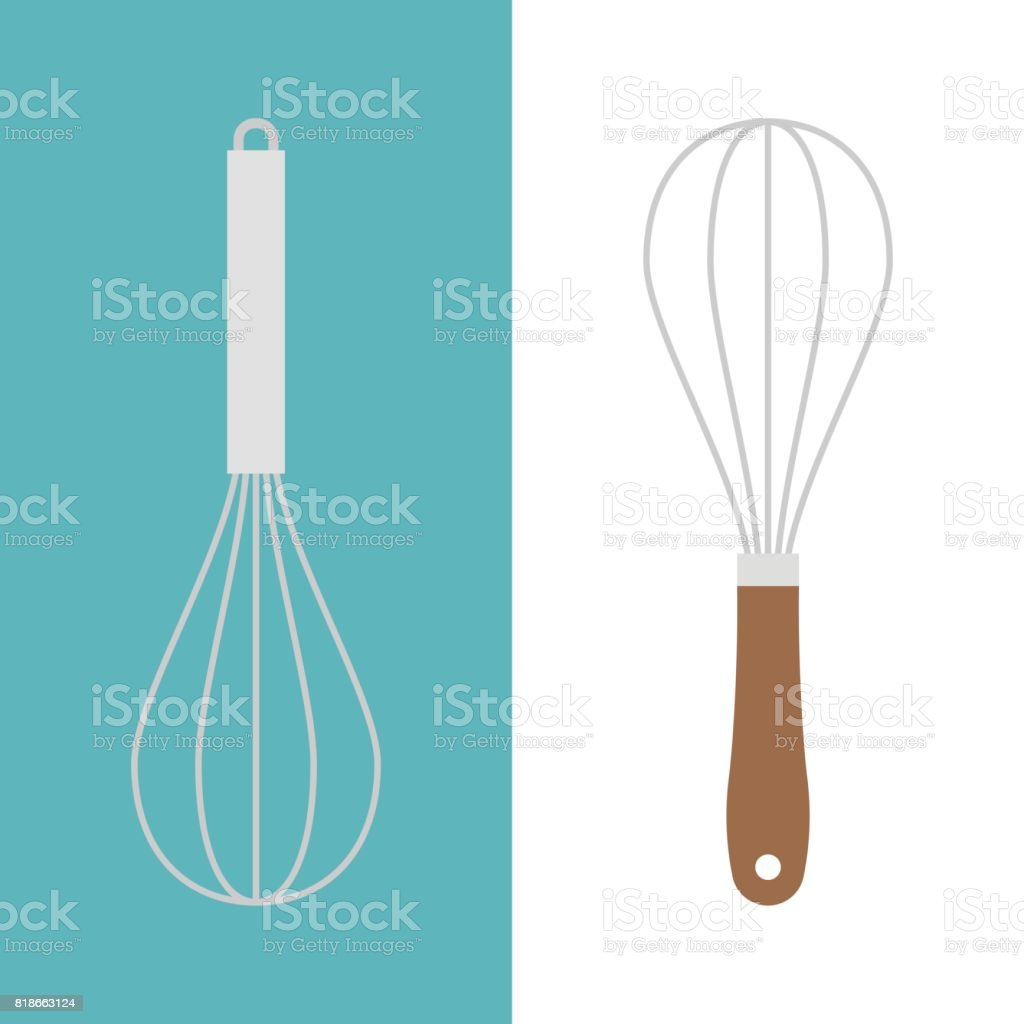 stainless and wooden egg whisk icon vector art illustration