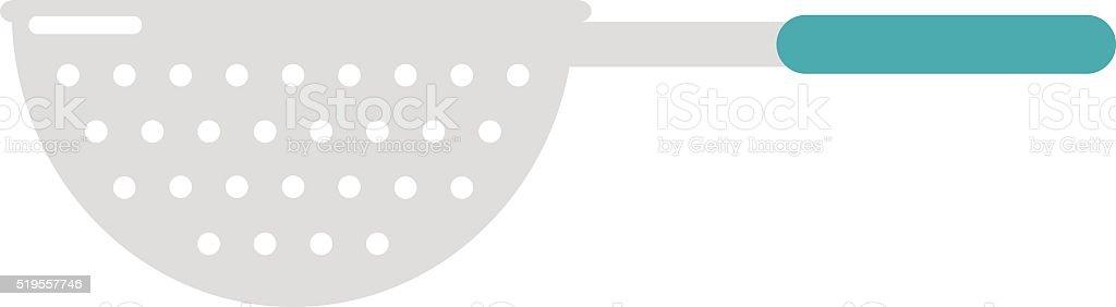 Stainless steel colander utensil kitchen equipment flat vector illustration vector art illustration