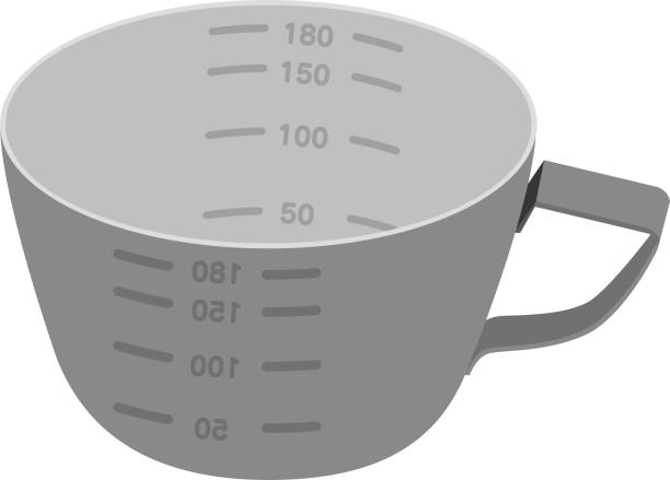 Stainless steel cooking measuring cup vector illustration Stainless steel cooking measuring cup vector illustration measuring cup stock illustrations