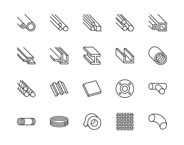 Stainless steel flat line icons set. Metal sheet, coil, strip, pipe, armature vector illustrations. Outline signs for metallurgy products, construction industry. Pixel perfect 64x64. Editable Strokes Stainless steel flat line icons set. Metal sheet, coil, strip, pipe, armature vector illustrations. Outline signs for metallurgy products, construction industry. Pixel perfect 64x64. Editable Strokes. girder stock illustrations