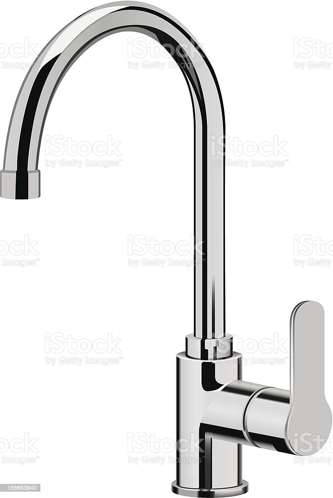 Stainless steel kitchen faucet vector art illustration