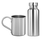 istock Stainless steel mug and metal flask, thermo bottle 1297564341