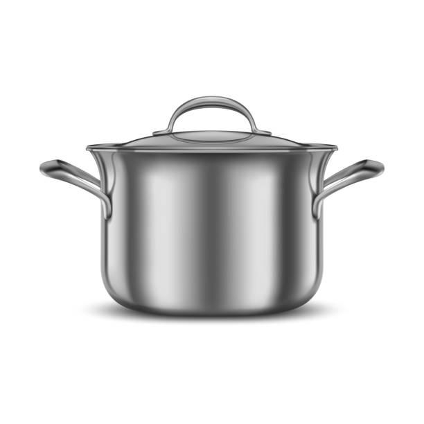 ステンレススチールパン。金属製の調理ポット。キッチン用品のモックアップ。調理用調理器具。 - 鍋点のイラスト素材/クリップアート素材/マンガ素材/アイコン素材