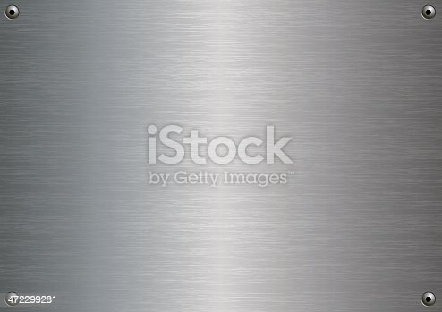 istock Stainless steel plate with four fasteners 472299281