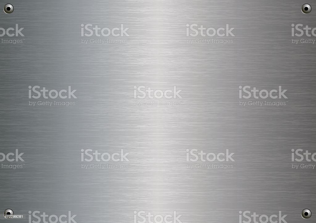 Stainless steel plate with four fasteners vector art illustration