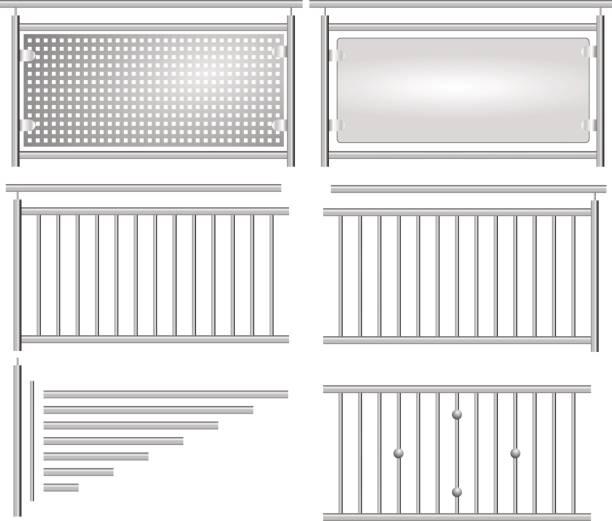 stockillustraties, clipart, cartoons en iconen met edelstahl geländer bausatz isoliert - fence