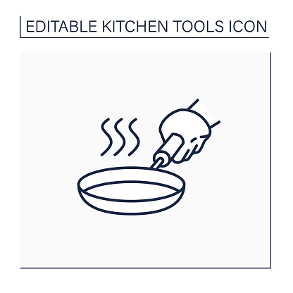 Stainless steel skillet line icon