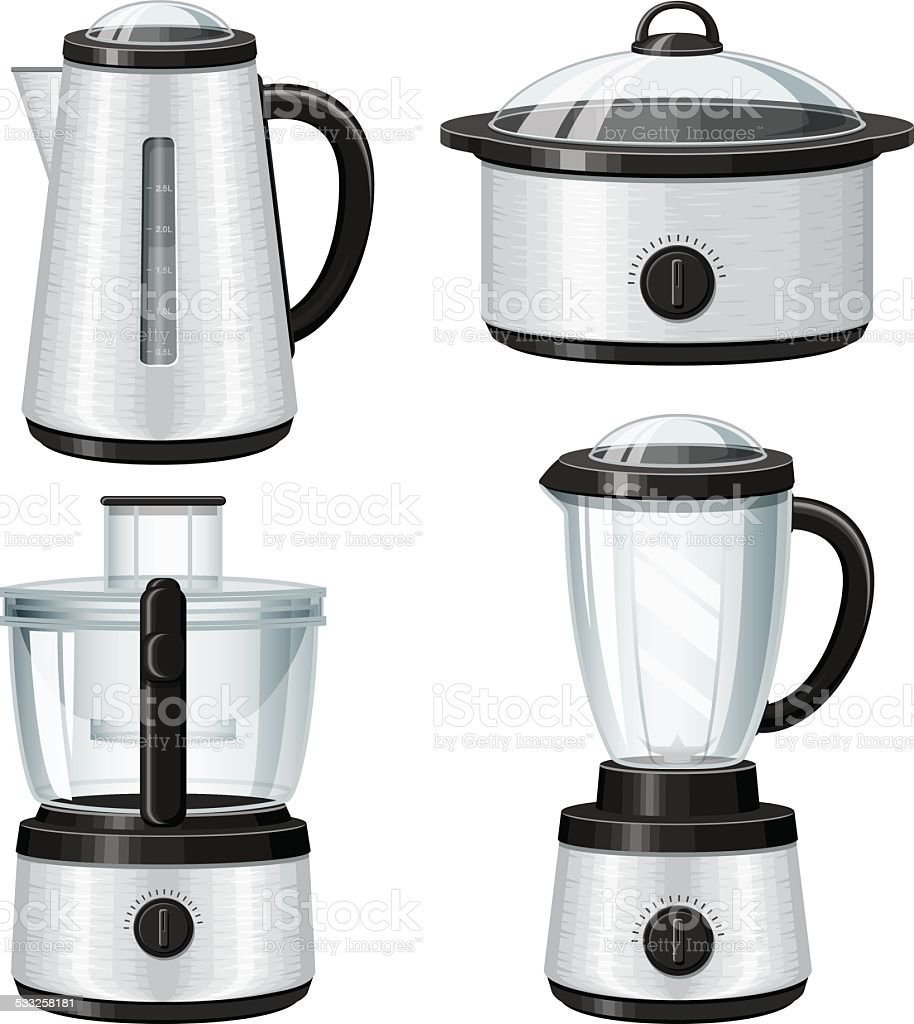 Stainless Steel Small Appliances Icon Set Stock