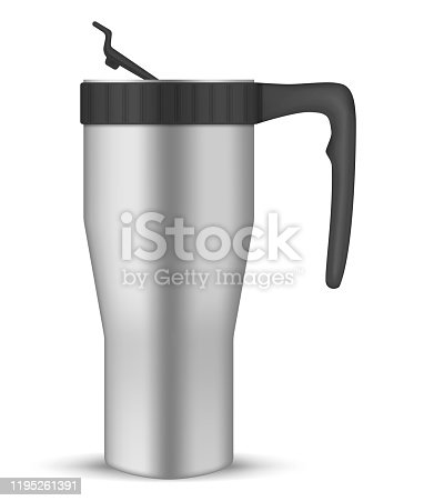 Stainless steel tumbler cup with flip lid, realistic vector mockup. Travel thermo mug with handle, template. Insulated thermos for coffee, tea and other hot or cold drinks, mock-up