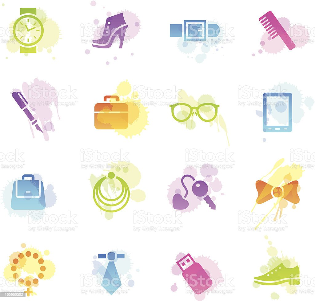 Stains Icons - Accessories royalty-free stock vector art