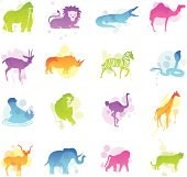 16 stains icons representing different African animals.