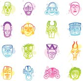 Stains Icons - African Masks