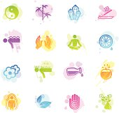 A collection of 16 different alternative medicine related symbols.