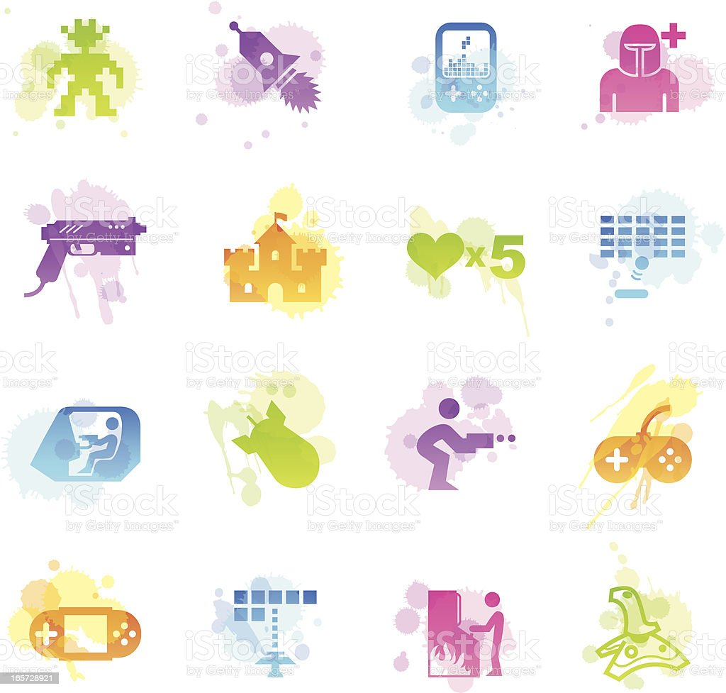 Stains Icons - Arcade Gaming royalty-free stock vector art