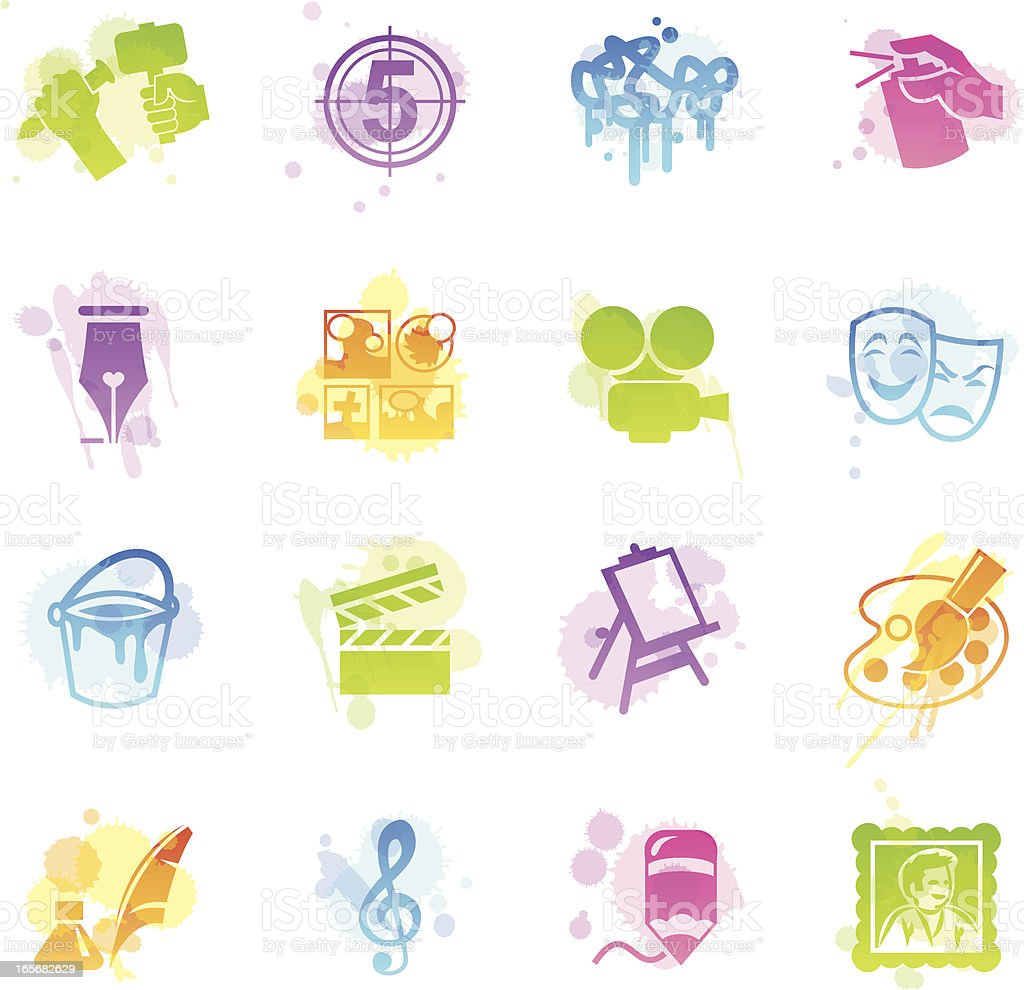 Stains Icons - Arts royalty-free stains icons arts stock vector art & more images of art and craft
