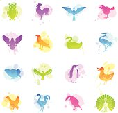 16 stains icons representing different birds.