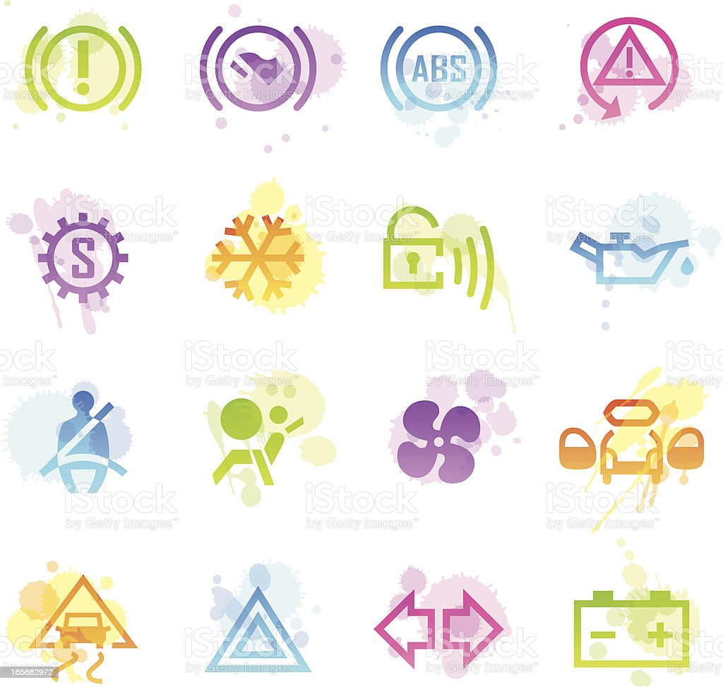 Stains Icons - Car Control Indicators royalty-free stock vector art