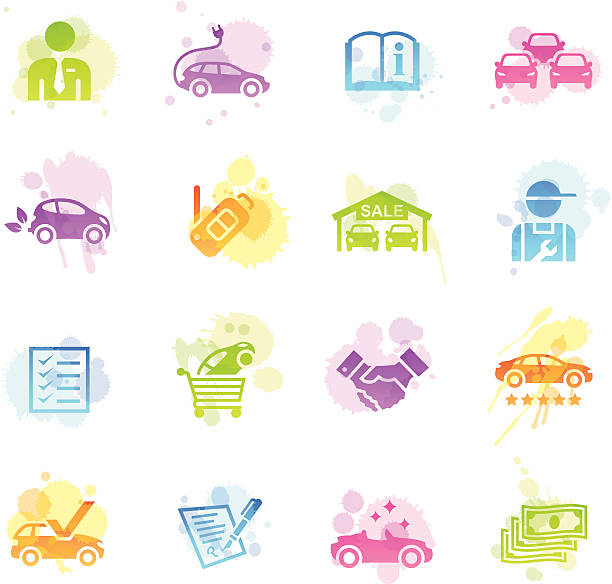 bildbanksillustrationer, clip art samt tecknat material och ikoner med stains icons - car dealership - dirty money