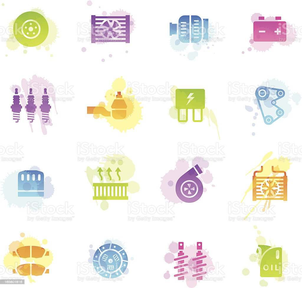 Stains Icons - Car Maintenance vector art illustration