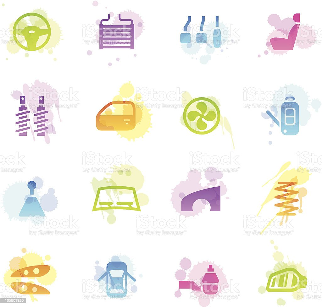 Stains Icons - Car Parts vector art illustration