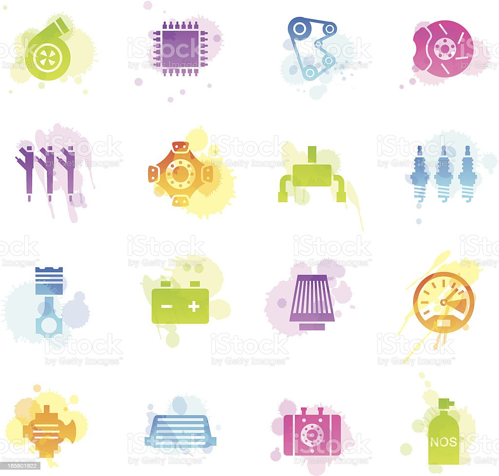 Stains Icons - Car Performance Parts royalty-free stock vector art
