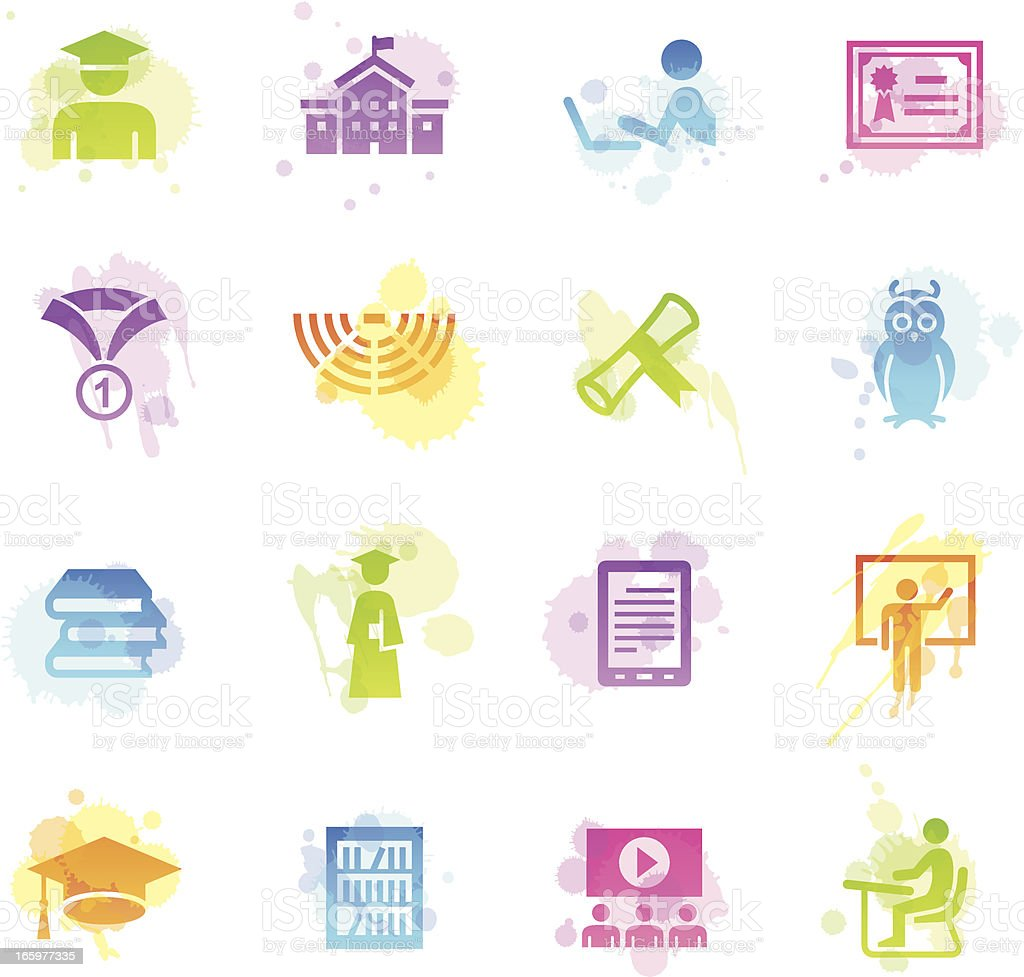 Stains Icons - College & Students vector art illustration