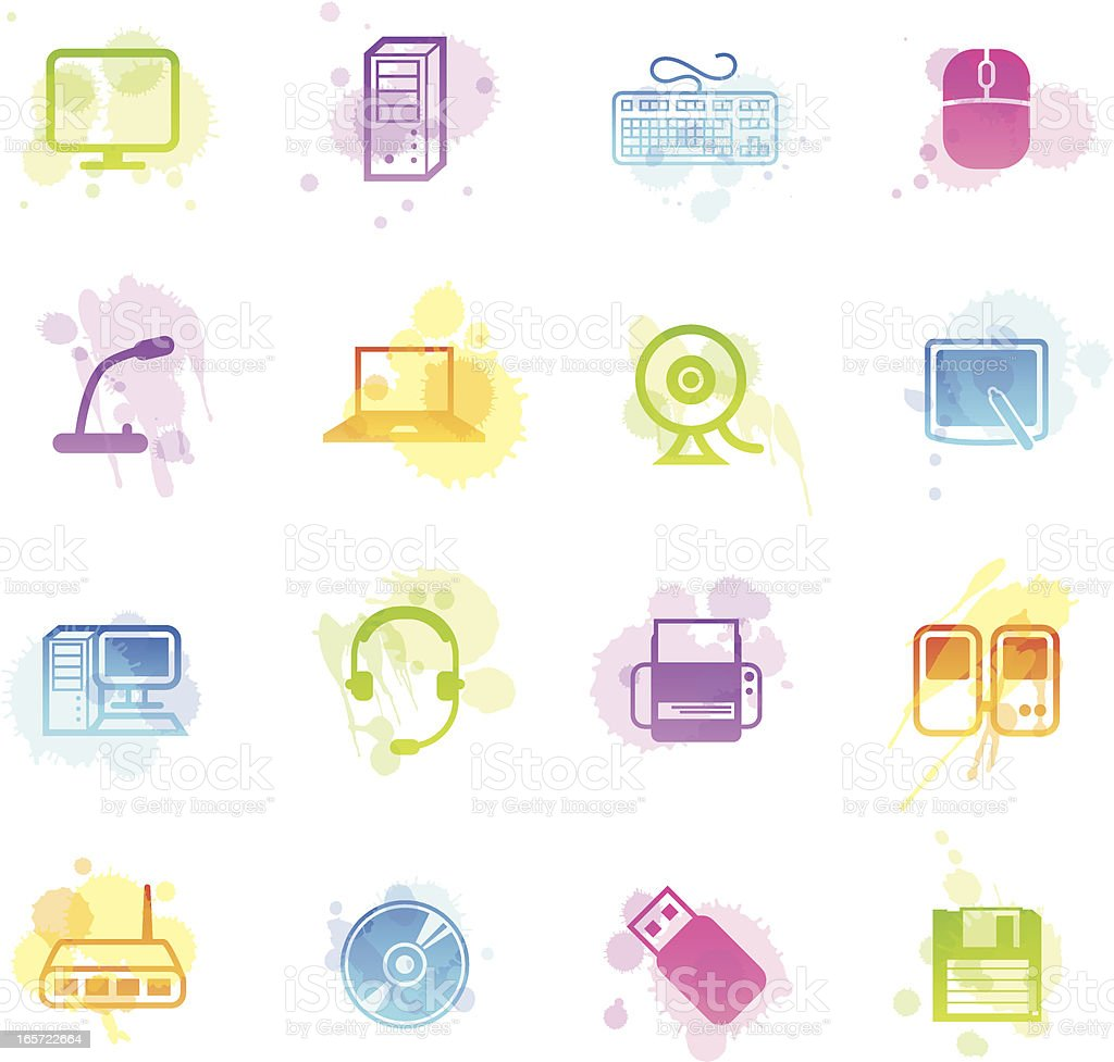 Stains Icons - Computer & Peripherals royalty-free stock vector art