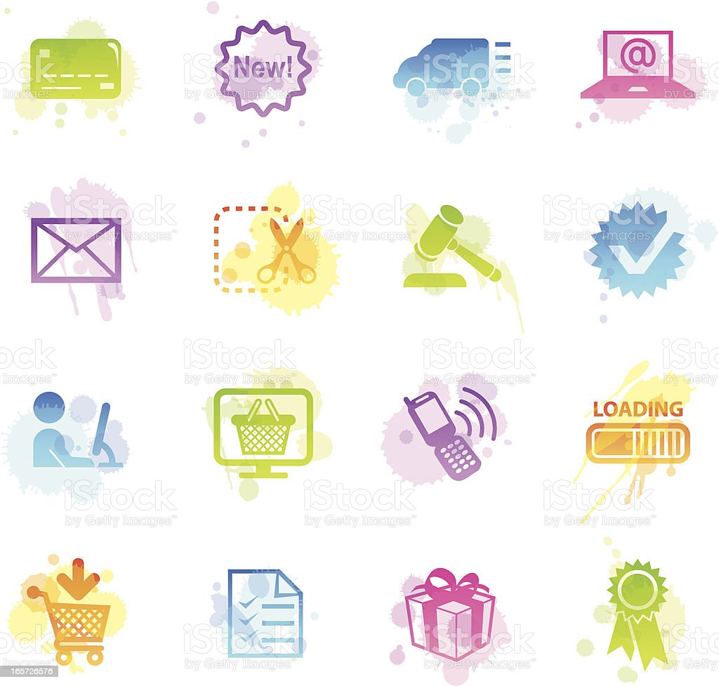 Stains Icons - E-Commerce royalty-free stock vector art