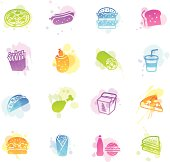 Illustration of fast food related icons.