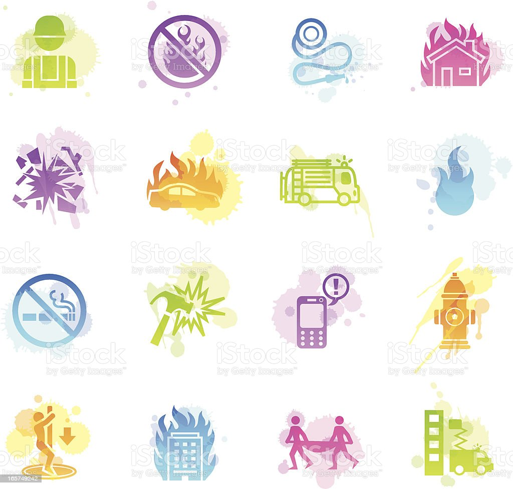 Stains  Icons - Firefighter vector art illustration