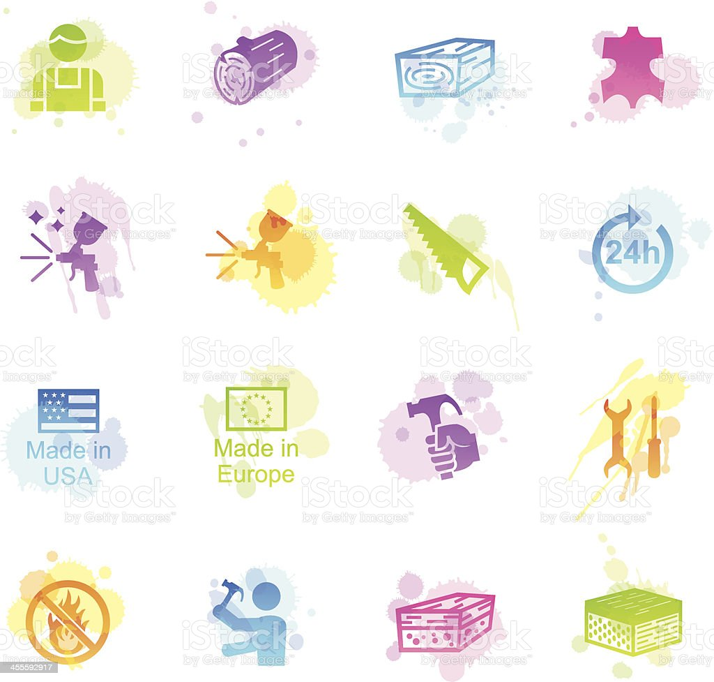 Stains Icons - Furniture Fabrication royalty-free stock vector art