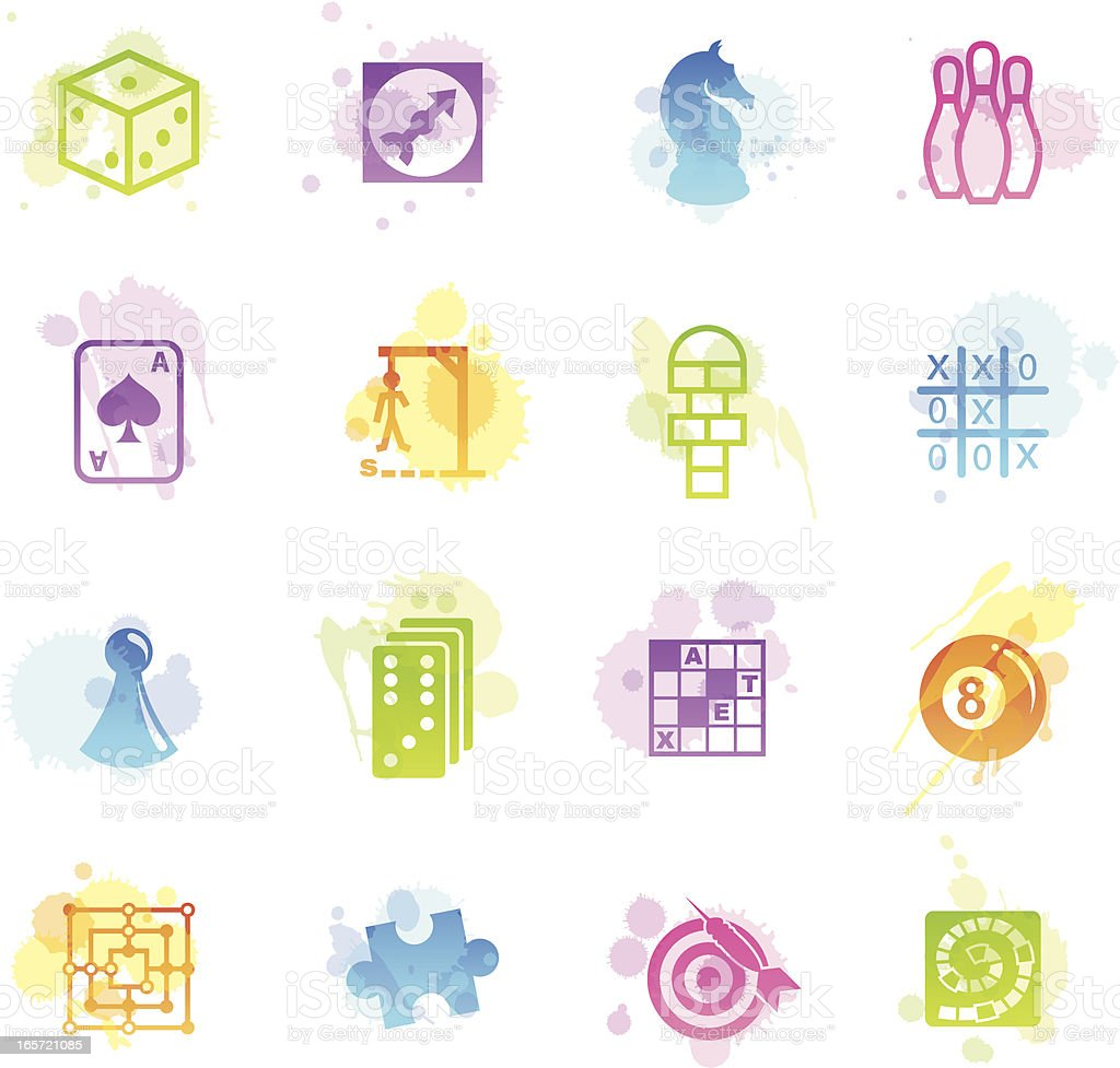 Stains Icons - Games royalty-free stock vector art