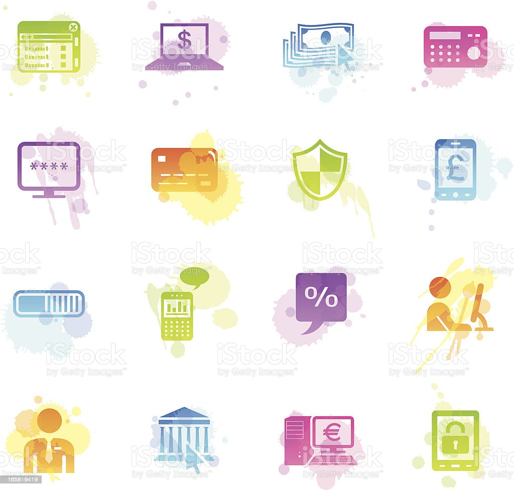 Stains Icons - Home Banking royalty-free stains icons home banking stock vector art & more images of bank