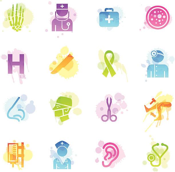 flecken icons-krankenhaus - farbwahrnehmung stock-grafiken, -clipart, -cartoons und -symbole
