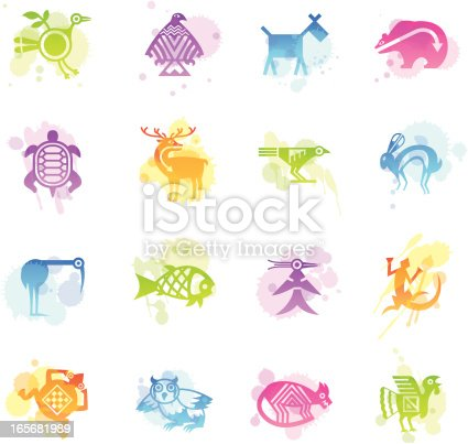 16 stains icons representing different Indian tribal animals.
