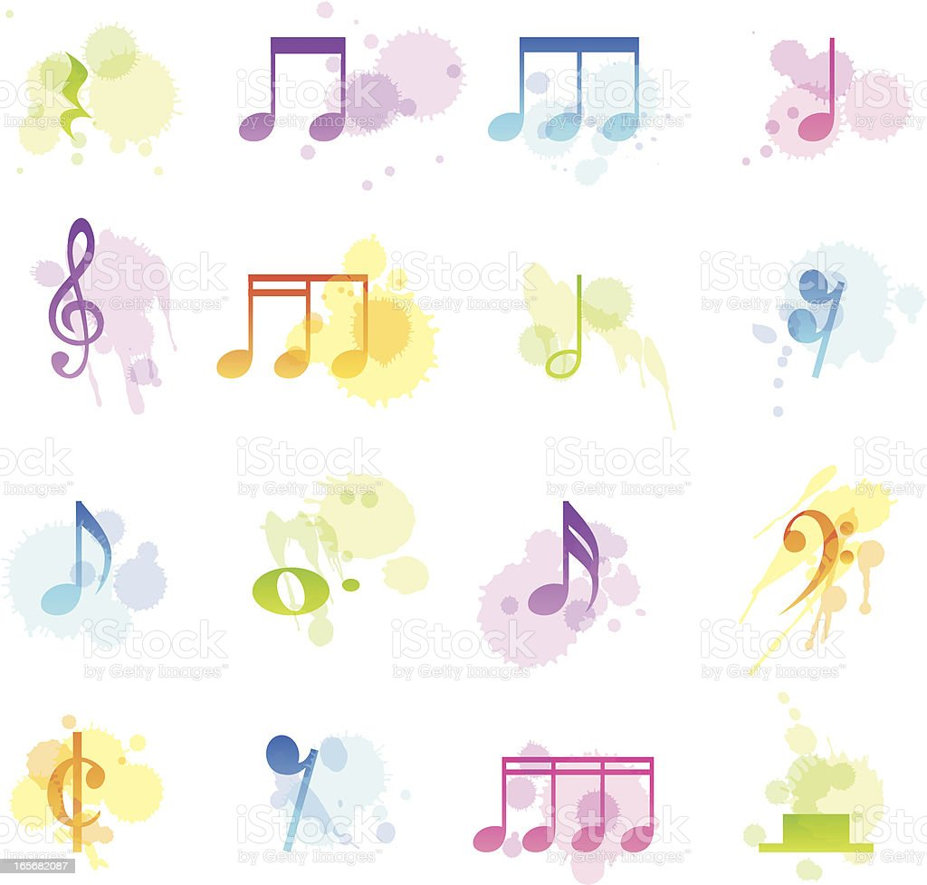 Stains Icons - Musical Notes royalty-free stock vector art