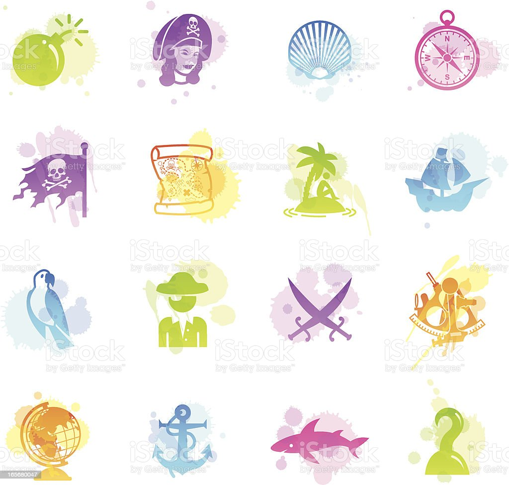 Stains Icons - Pirates royalty-free stains icons pirates stock vector art & more images of adult