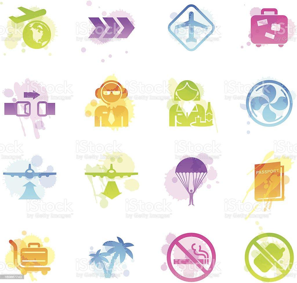 Stains Icons - Plane Travel vector art illustration