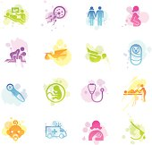 Illustration of multicolor stained pregnancy & childbirth icons.