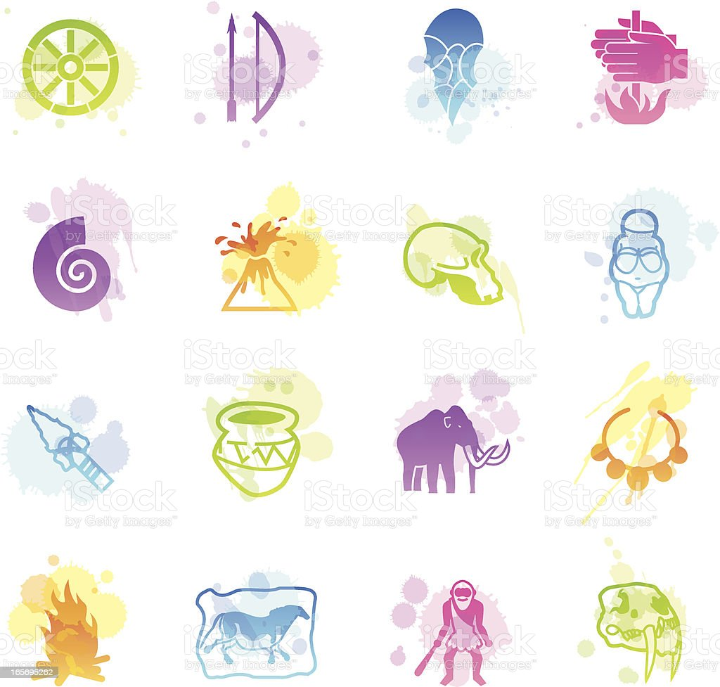 Stains Icons - Prehistory vector art illustration