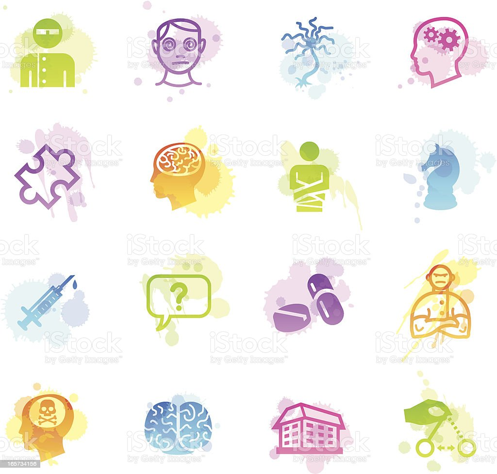 Stains Icons - Psychology & Psychiatry vector art illustration