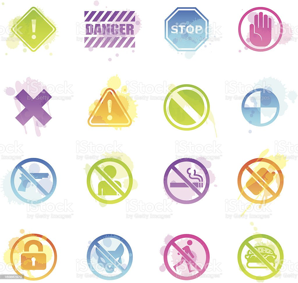 Stains Icons - Restrictions royalty-free stock vector art