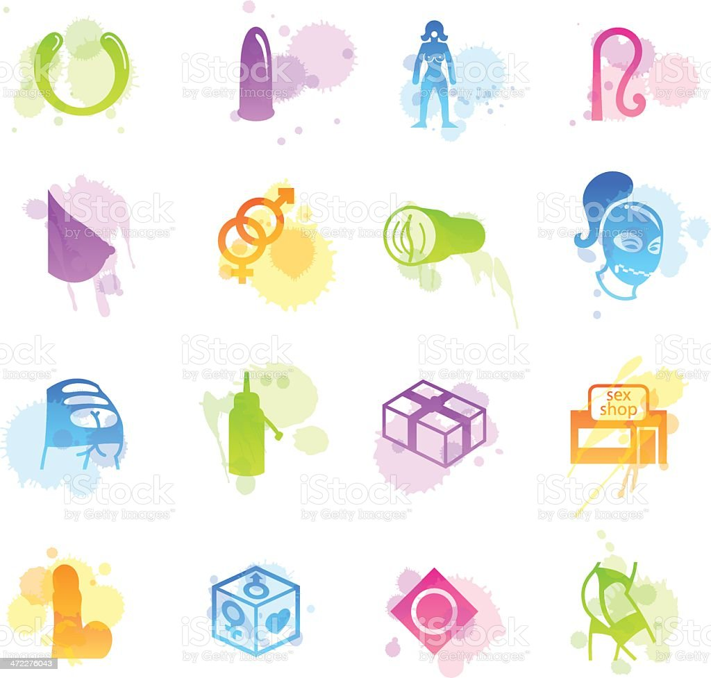 Stains Icons - Sex Shop vector art illustration