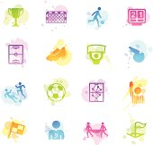 A collection of 16 different soccer related symbols.