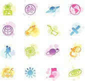 Illustration of different space related icons.